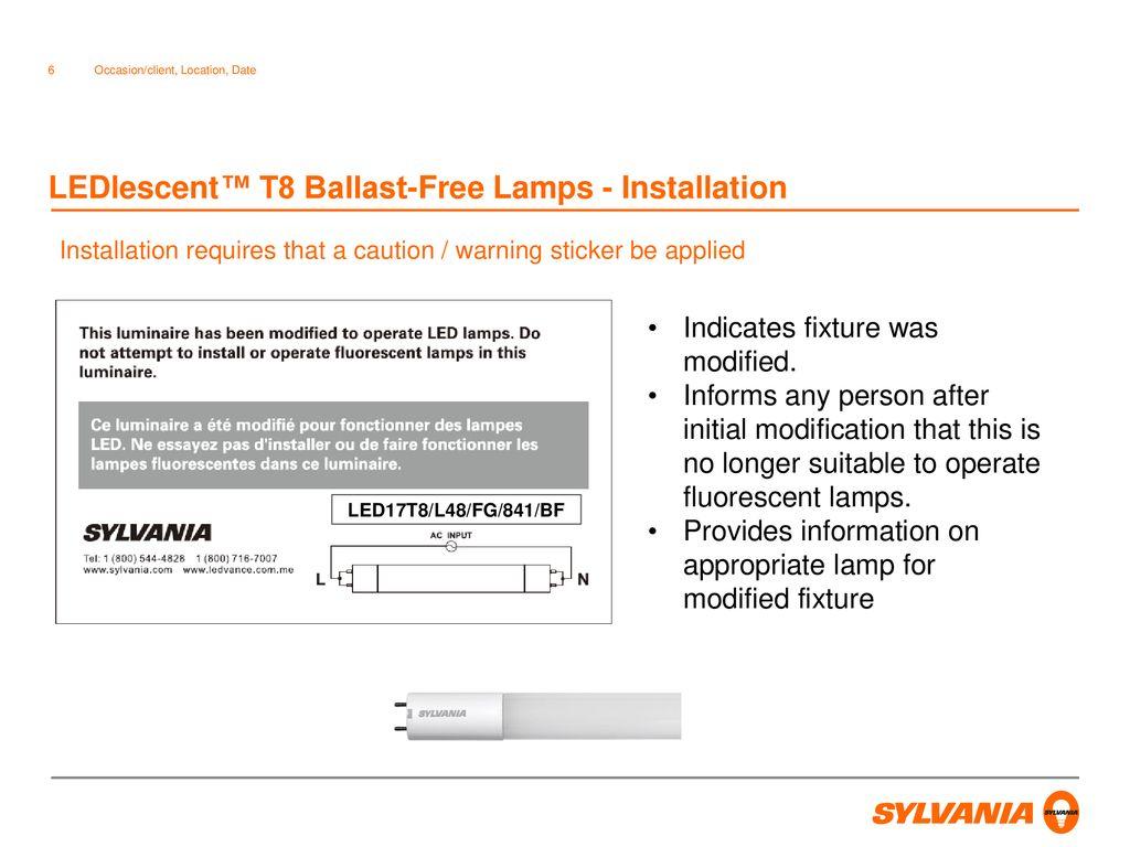 ledlescent™ t8 ballast-free lamps - installation
