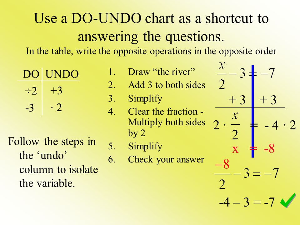 Use a DO-UNDO chart as a shortcut to answering the questions
