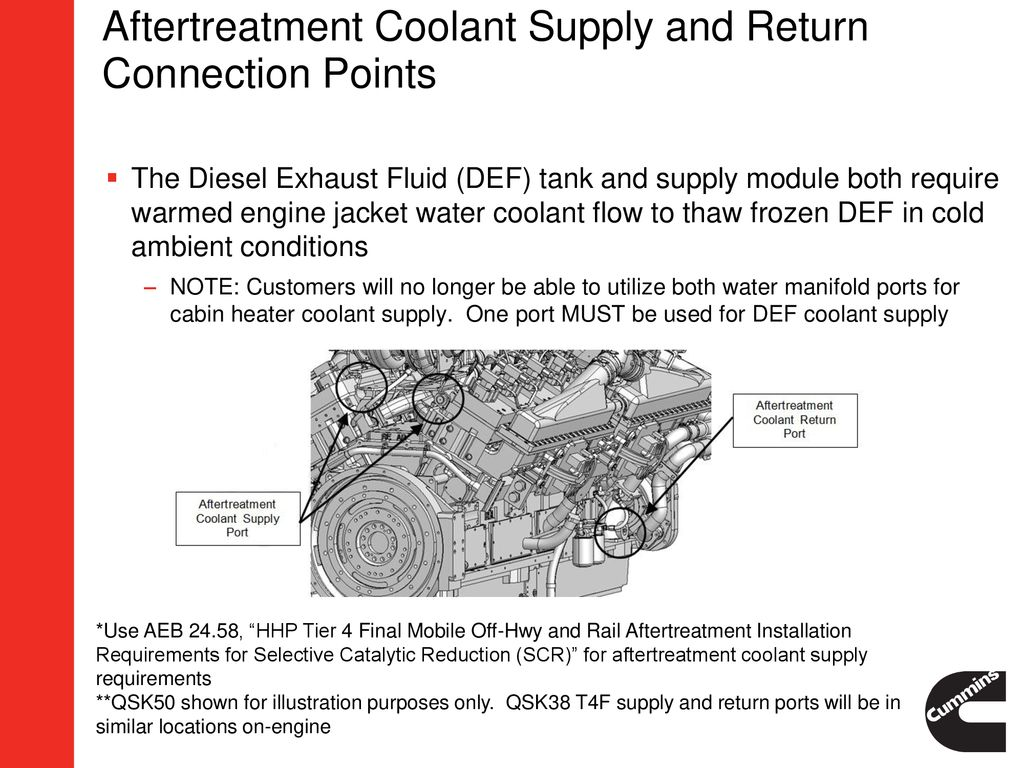 Qsk38 Tier 4 Final Oem Impact Presentation Ppt Download Frozen Engine Coolant Aftertreatment Supply And Return Connection Points