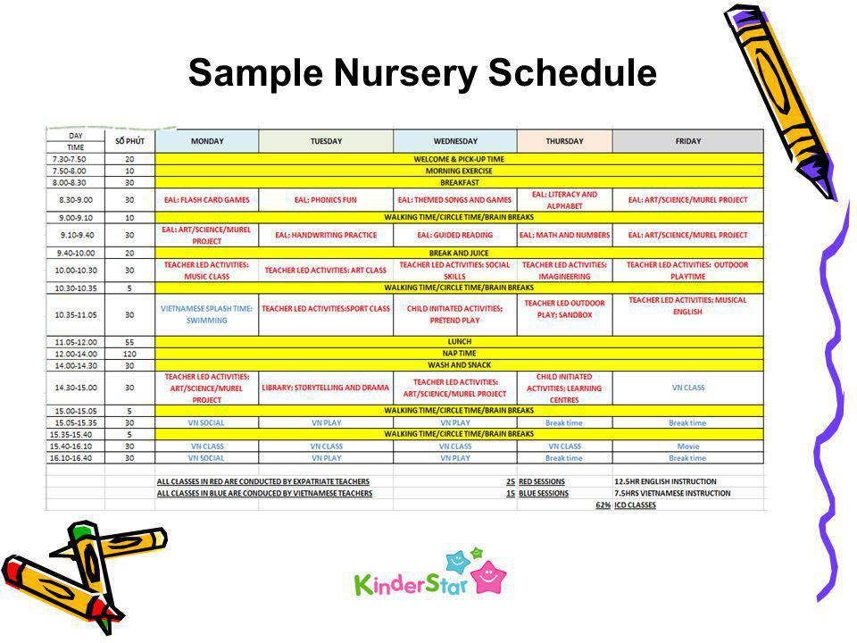 Sample Nursery Schedule