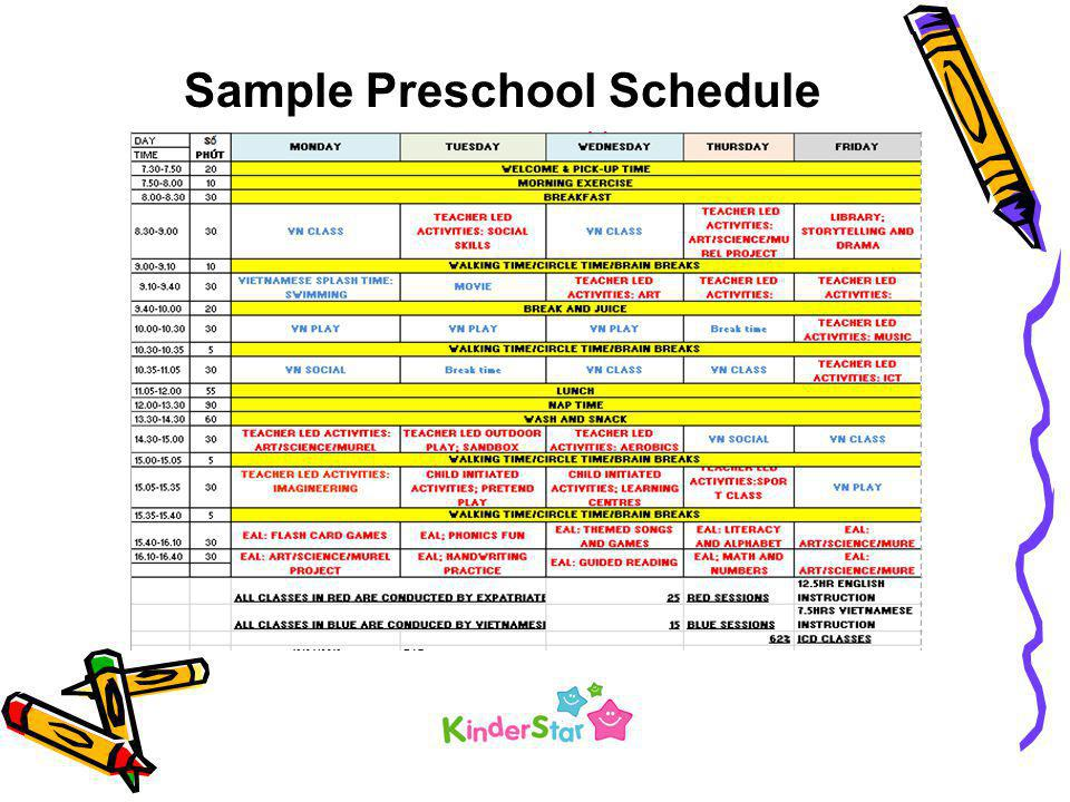 Sample Preschool Schedule