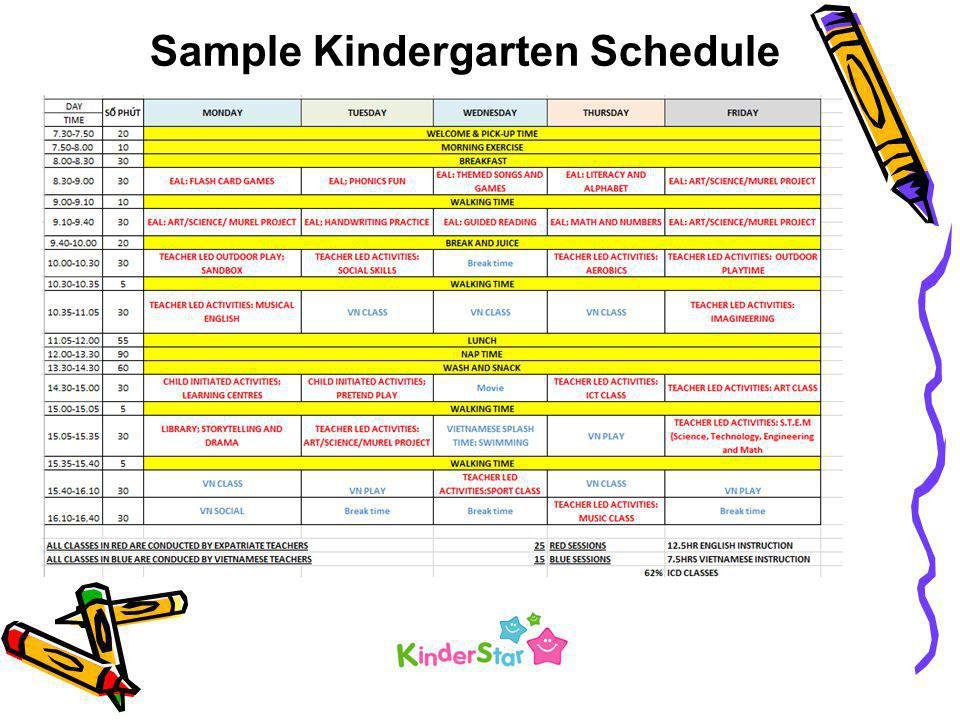 Sample Kindergarten Schedule