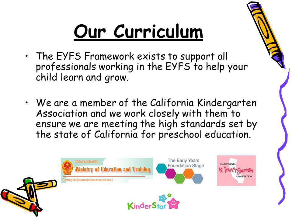 Our Curriculum The EYFS Framework exists to support all professionals working in the EYFS to help your child learn and grow.