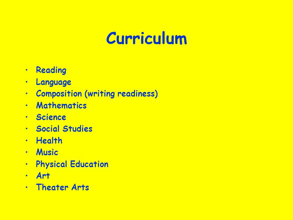 Curriculum Reading Language Composition (writing readiness)