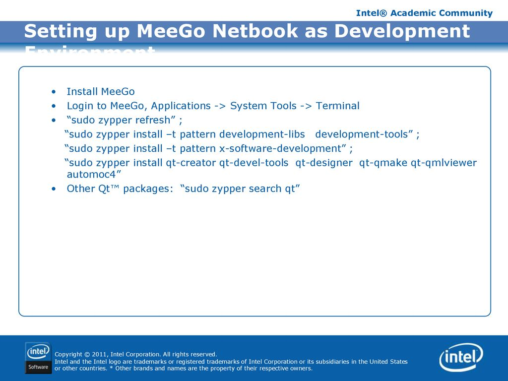Develop Meego Application for Intel AppUp℠ - ppt download