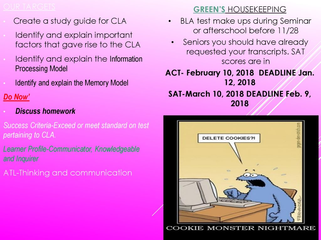 Create a study guide for CLA