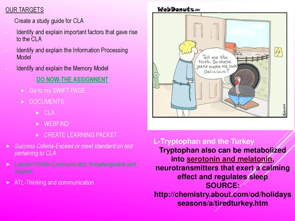 Create a study guide for CLA. 3 L-Tryptophan ...