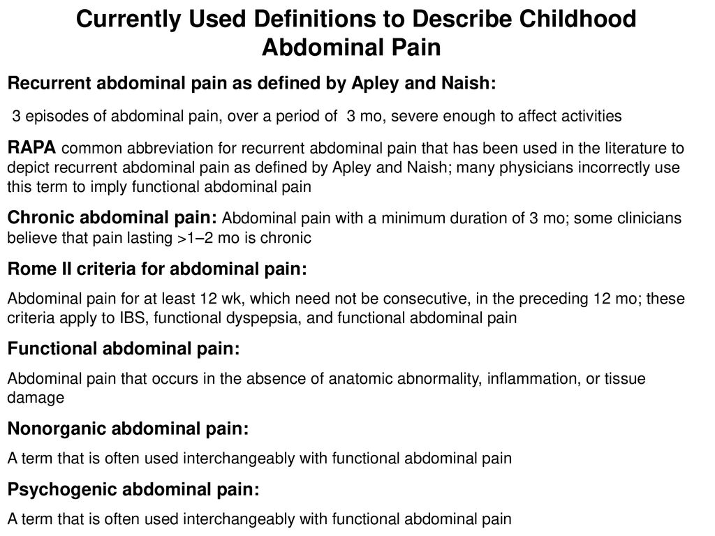 Currently Used Definitions to Describe Childhood Abdominal Pain