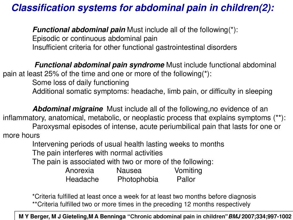Classification systems for abdominal pain in children(2):