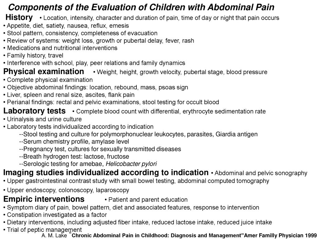 Components of the Evaluation of Children with Abdominal Pain