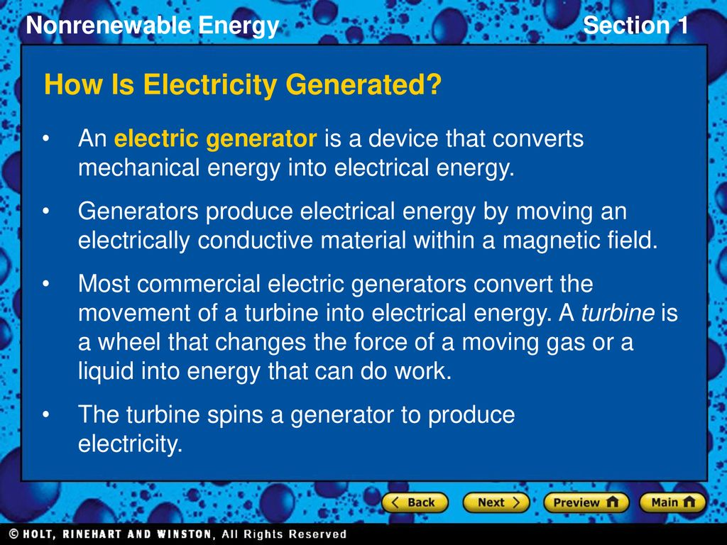 Section 1 Energy Resources And Fossil Fuels Ppt Download Power Generator A Device That Changes Or Converts Mechanical How Is Electricity Generated