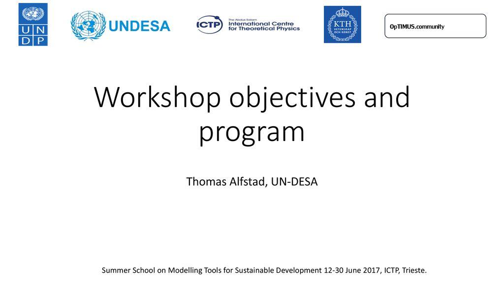 Workshop objectives and program - ppt download