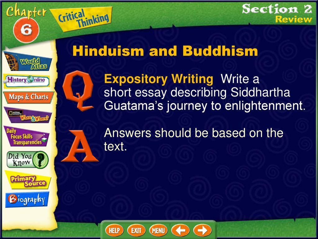 Example Essay Thesis Hinduism And Buddhism Expository Writing Write A Short Essay Describing  Siddhartha Guatamas Journey To Enlightenment Business Essay Sample also English Essay Outline Format Click On A Hyperlink To View The Corresponding Slides  Ppt Download Fifth Business Essays