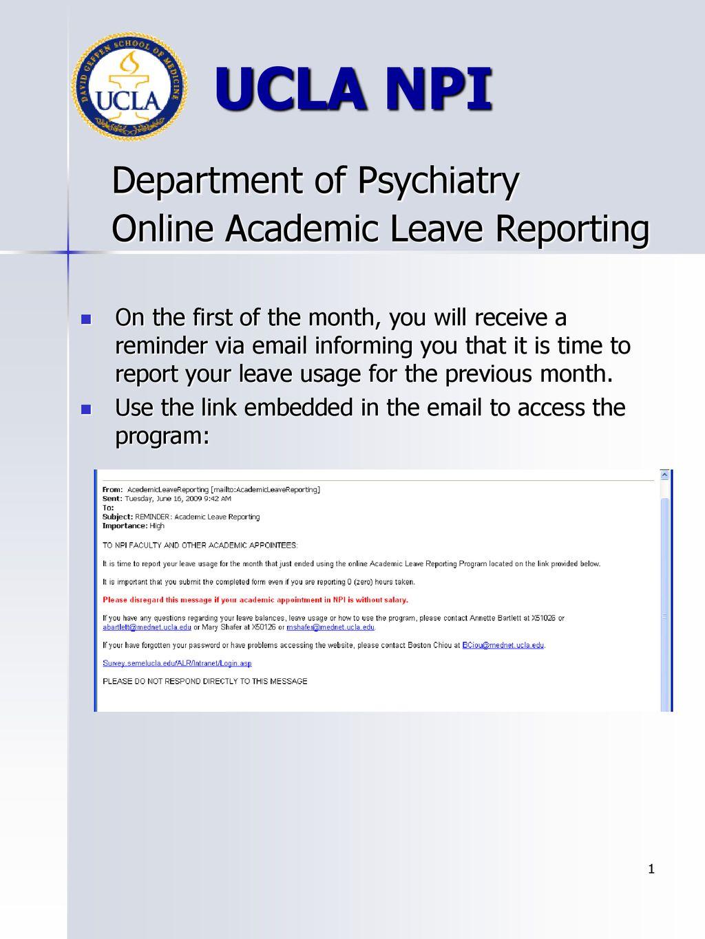 UCLA NPI Department of Psychiatry Online Academic Leave