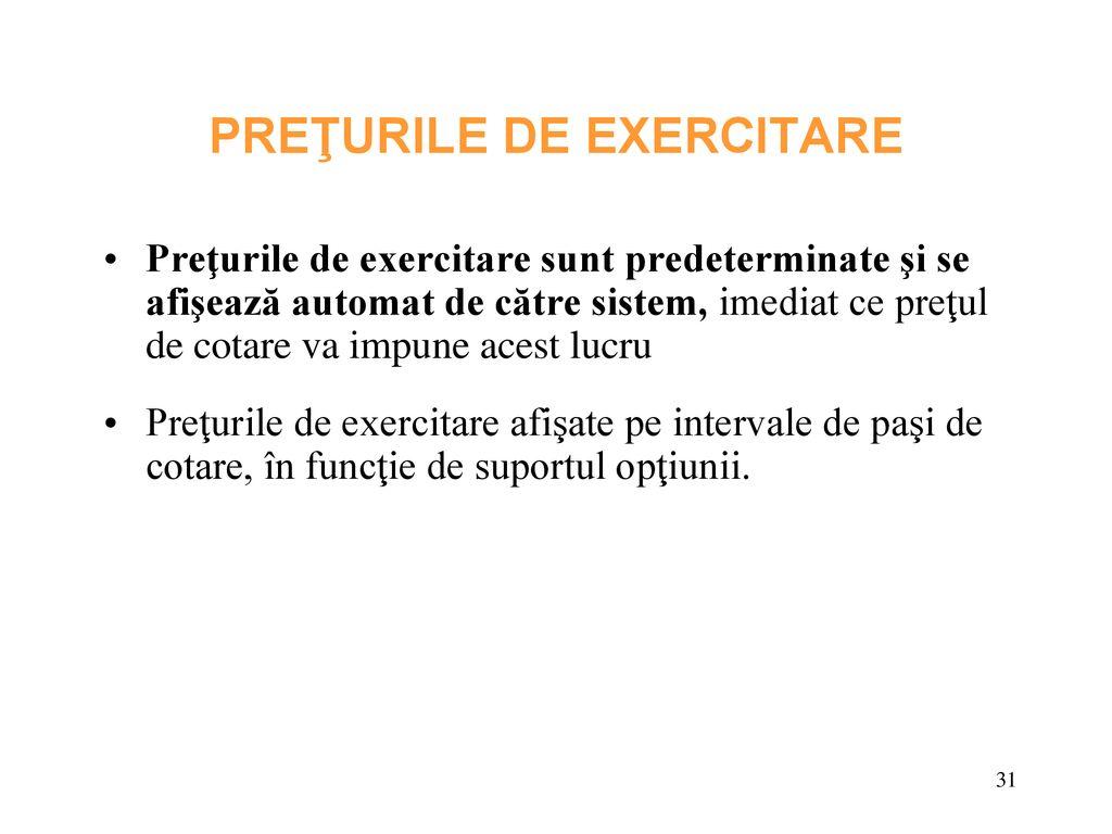 mecanism de exercitare a opțiunii