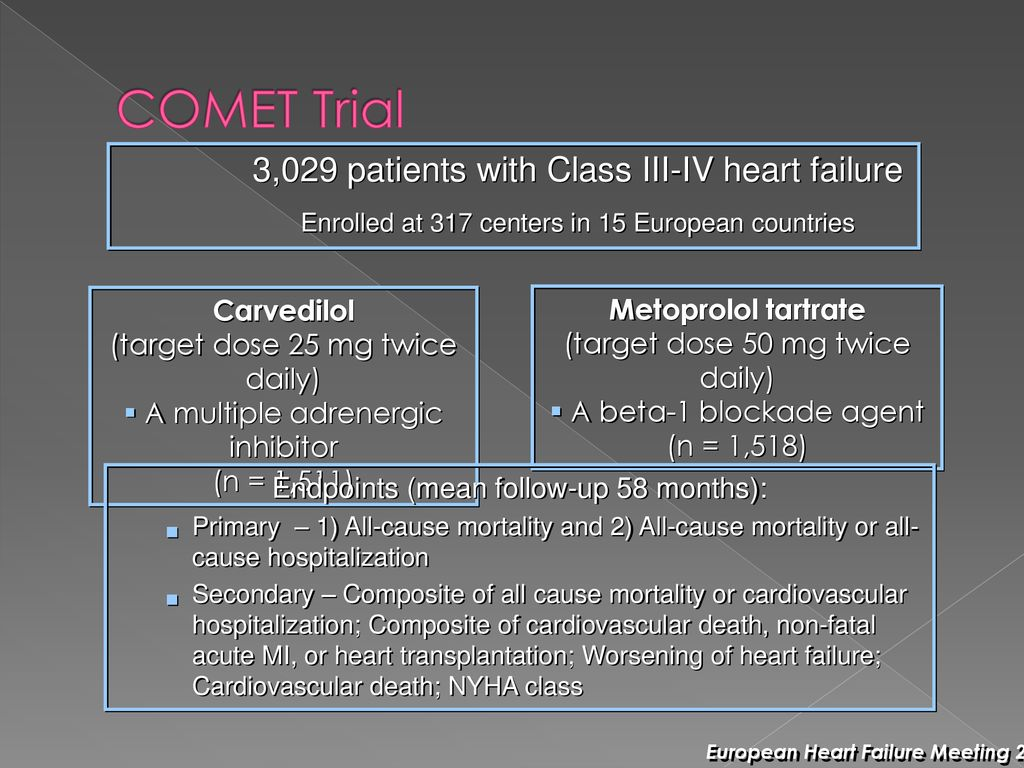 COMET Trial 3,029 patients with Class III-IV heart failure Carvedilol