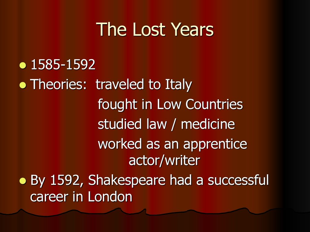 shakespeare lost years theories