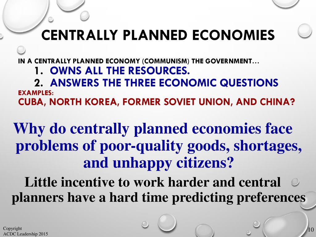 centrally planned economy example