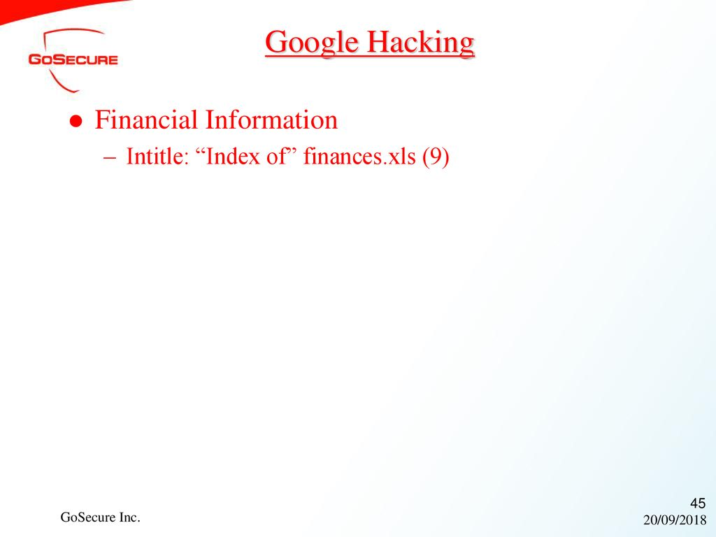 20/09/2018 Hacking with Google for fun and profit! October