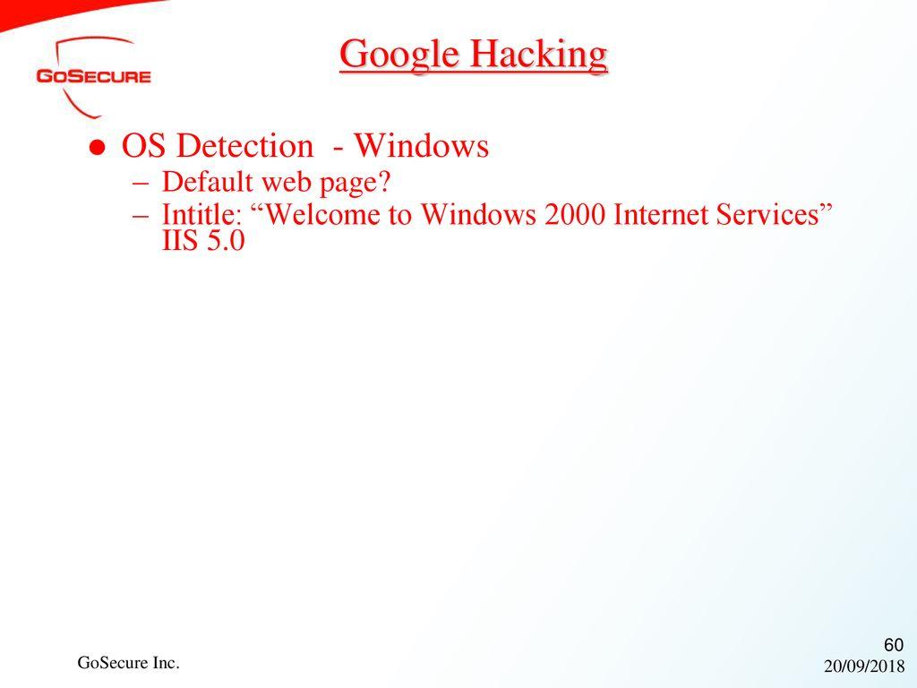 Google Hacking OS Detection - Windows Default web page