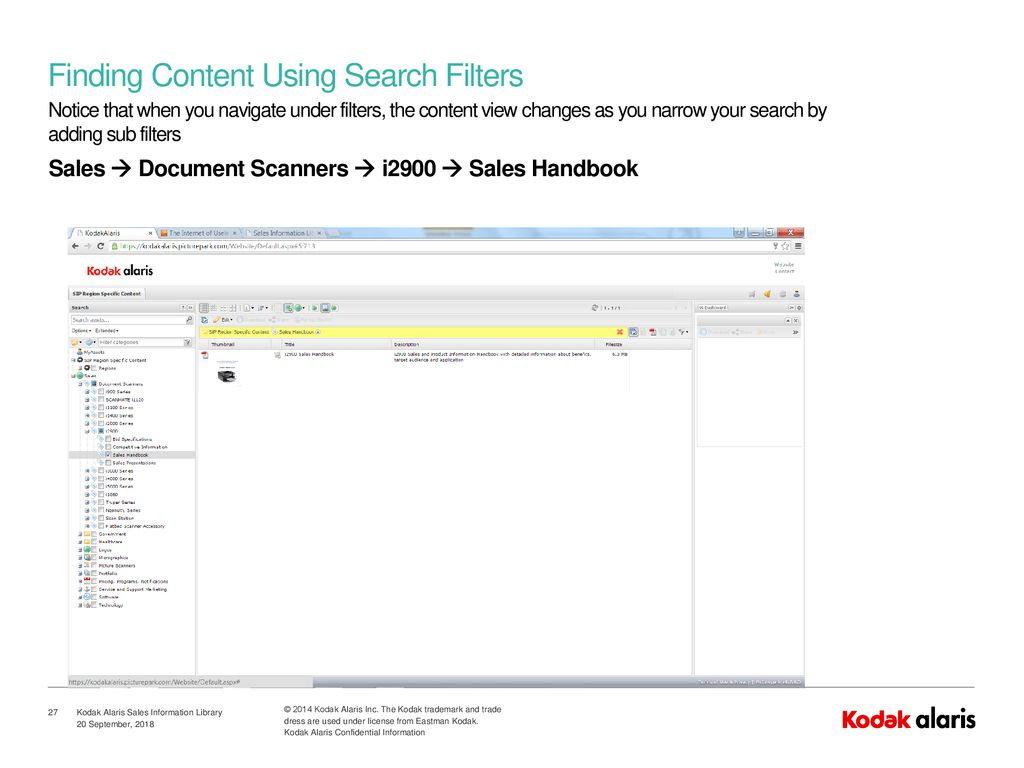 Kodak Alaris Sales Information Library User Training - ppt download