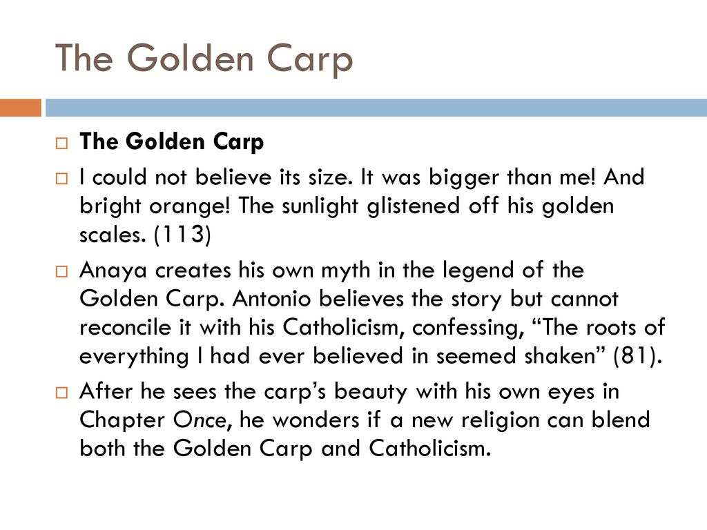 An analysis of antonio s conflicts between the catholic god and the golden carp