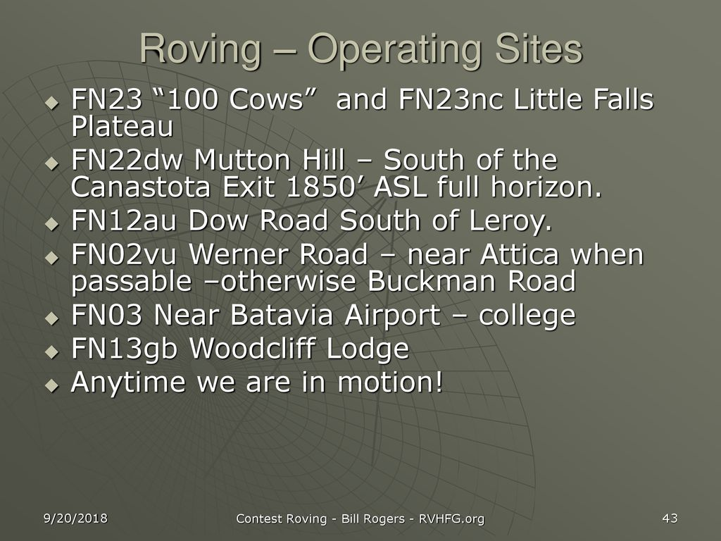 Roving – Operating Sites