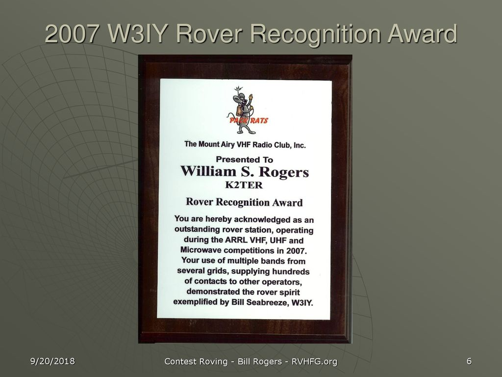 2007 W3IY Rover Recognition Award