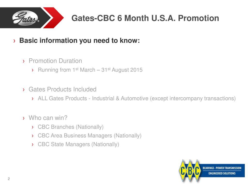 Gates-CBC 6 Month U S A  Budget Promotion - ppt download