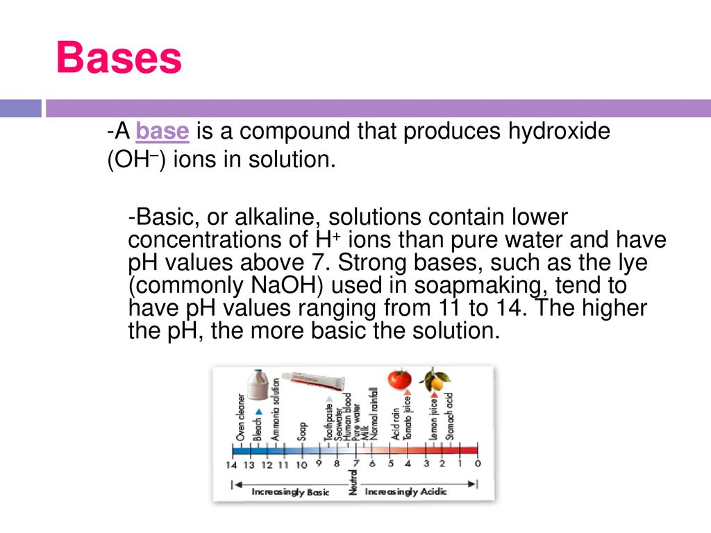 strong bases have ph values ranging from 11 to 14
