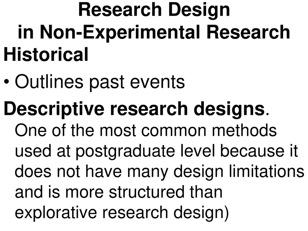 non experimental research design methods
