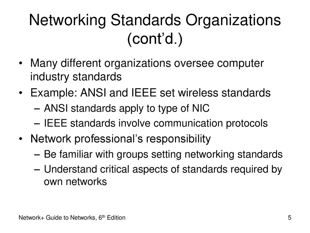 5 Networking Standards Organizations ...