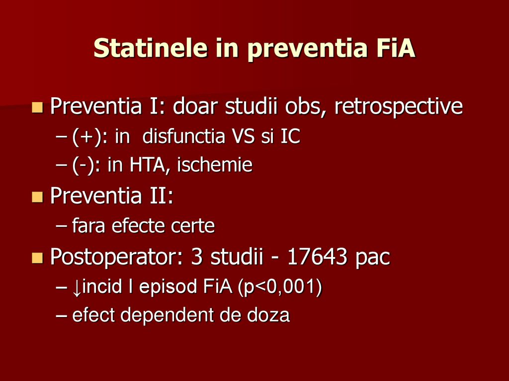 Statinele in preventia FiA