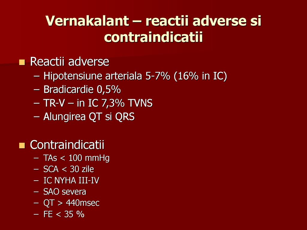 Vernakalant – reactii adverse si contraindicatii
