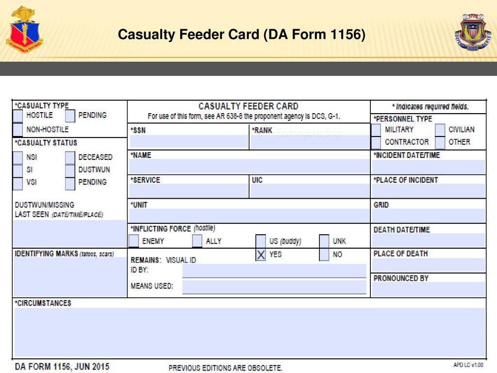 Casualty Feeder Card (DA Form 1156)