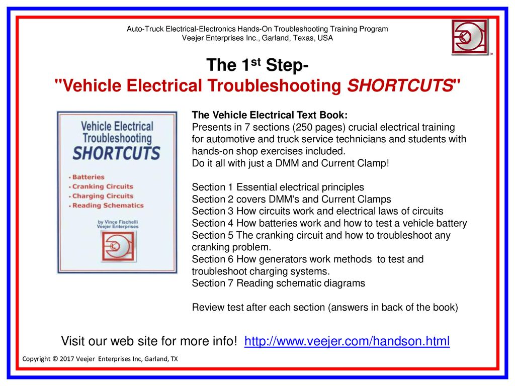 Vehicle Electrical Electronics Troubleshooting Training Program Electronic Circuit Diagrams On Wiring Diagram For Electric Generator The 1st Step Shortcuts