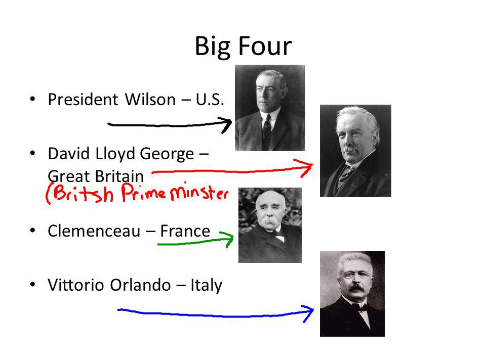 Big Four President Wilson – U.S. David Lloyd George – Great Britain