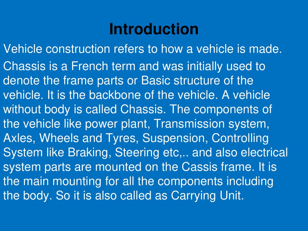 CHAPTER: 1  CHASSIS FRAME AND BODY - ppt download