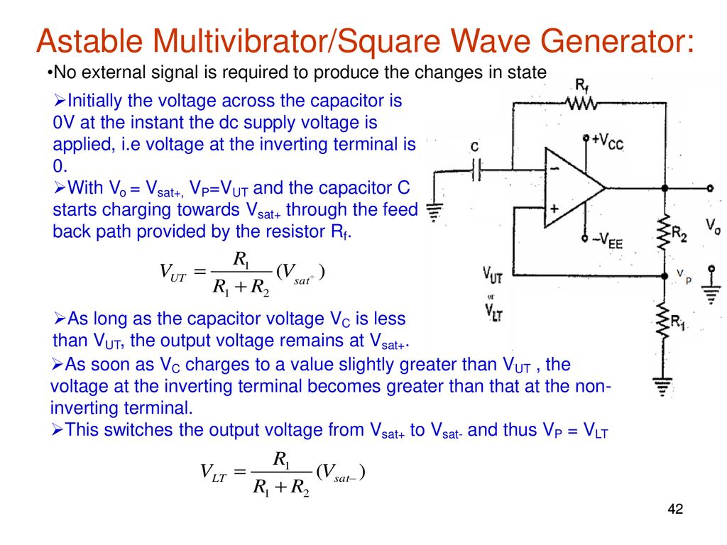 Elec207 Linear Integrated Circuits Ppt Download Square Wave Generator Using Ua 741 Astable Multivibrator