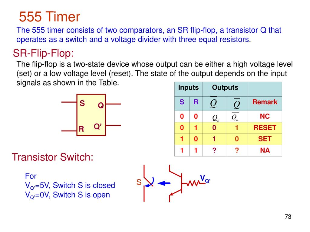 Elec207 Linear Integrated Circuits Ppt Download Said The Circuit Of A Flipflop Using 555 Timer Is Shown Below 73