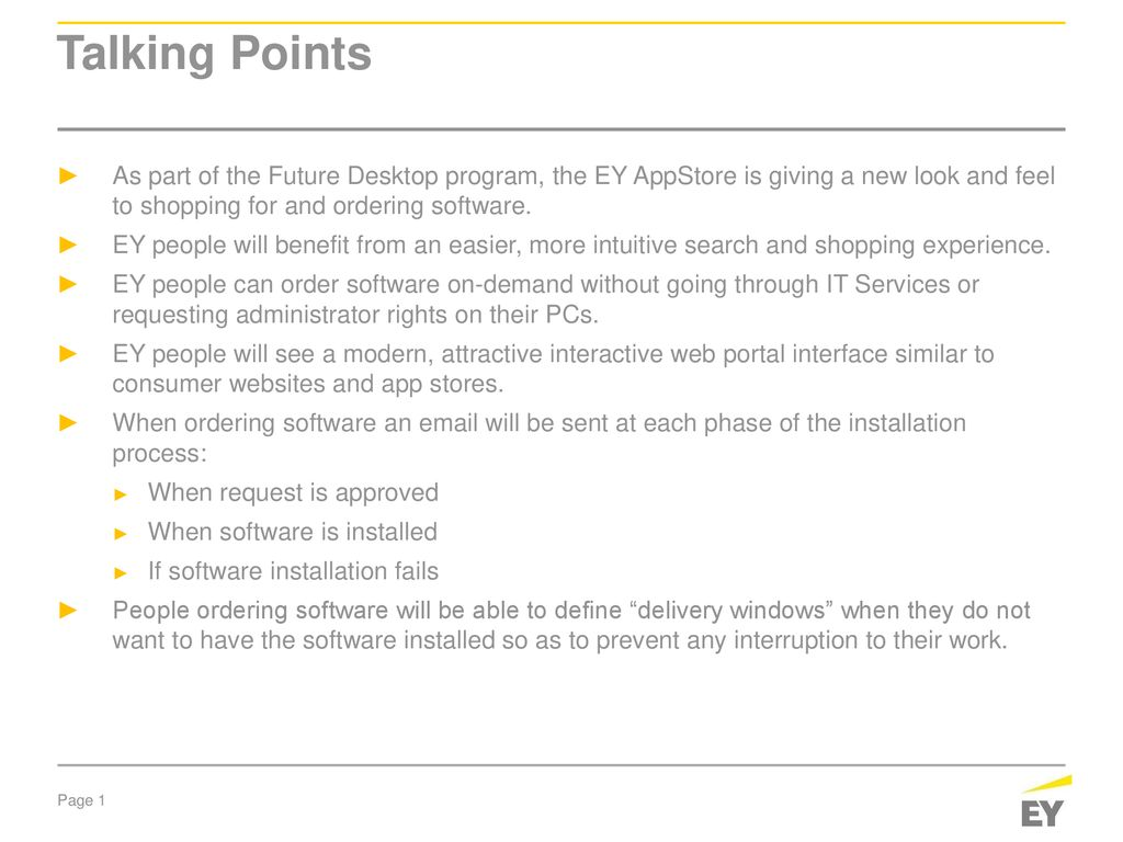 EY AppStore Talking Points  - ppt download