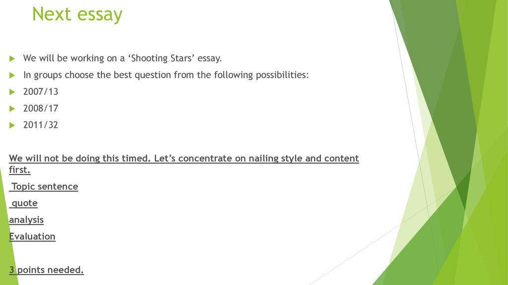 shooting stars essay