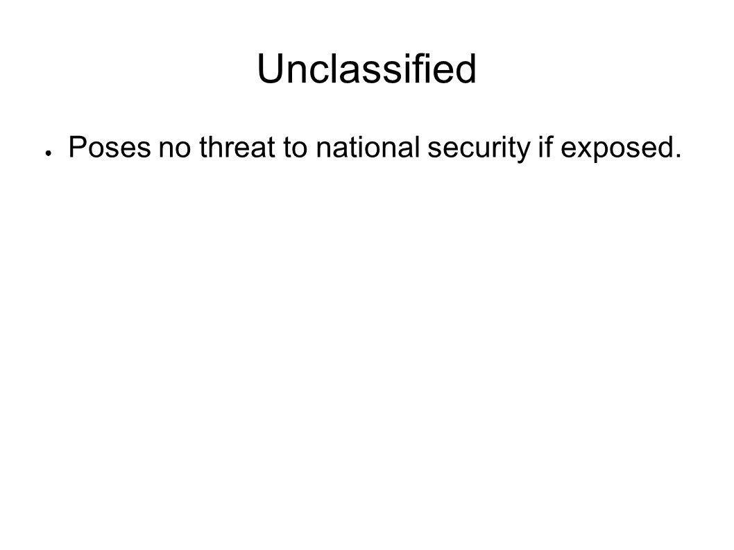 Unclassified Poses no threat to national security if exposed.