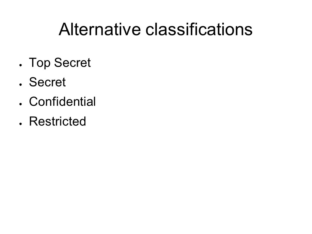 Alternative classifications