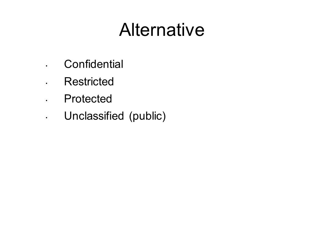 Alternative Confidential Restricted Protected Unclassified (public)
