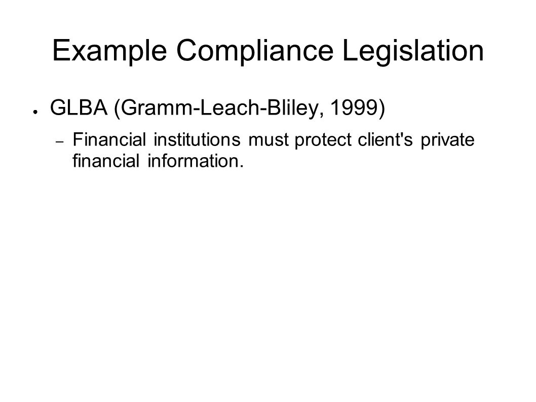 Example Compliance Legislation