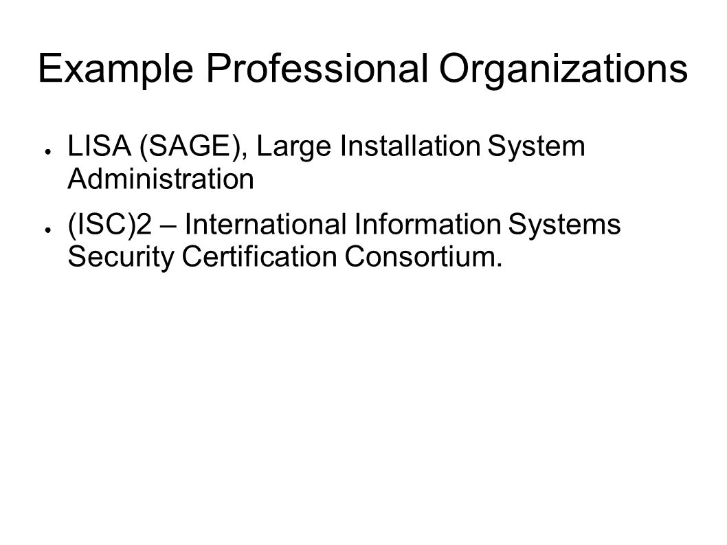 Example Professional Organizations