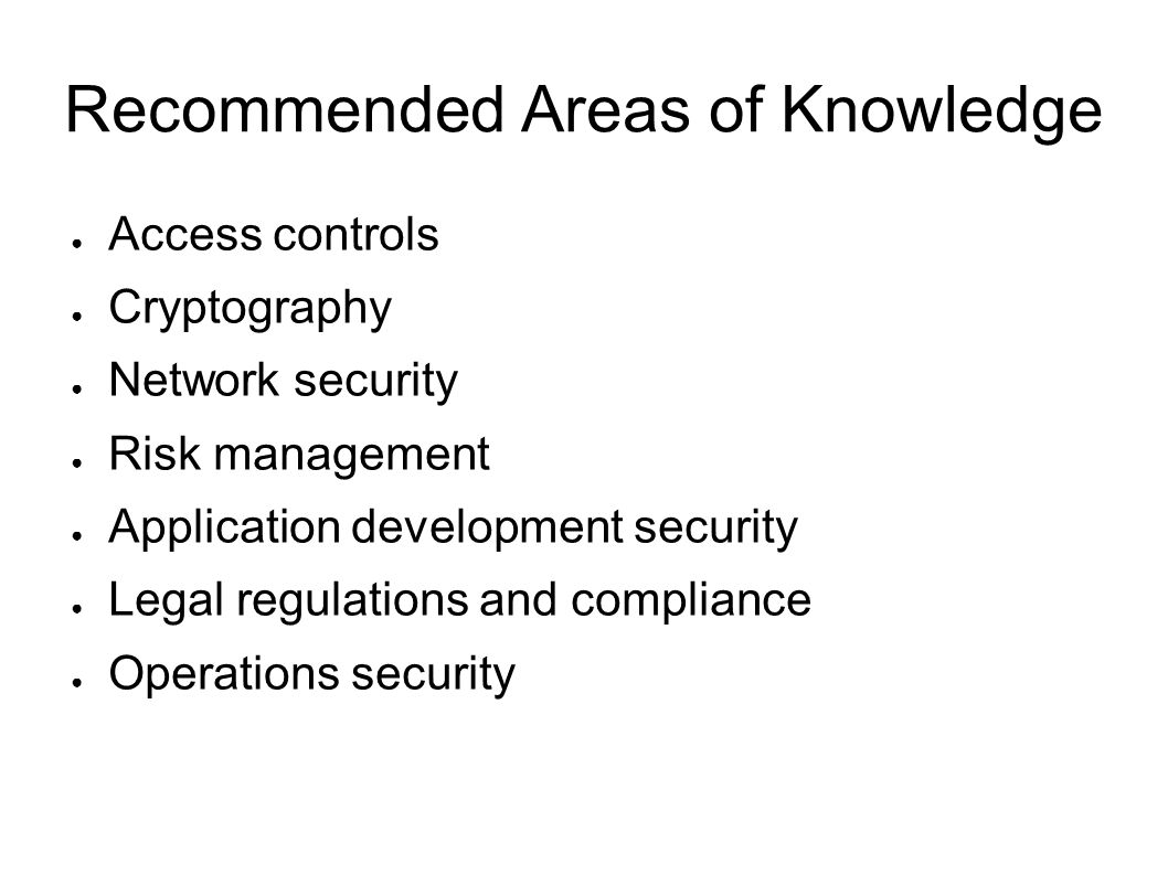 Recommended Areas of Knowledge