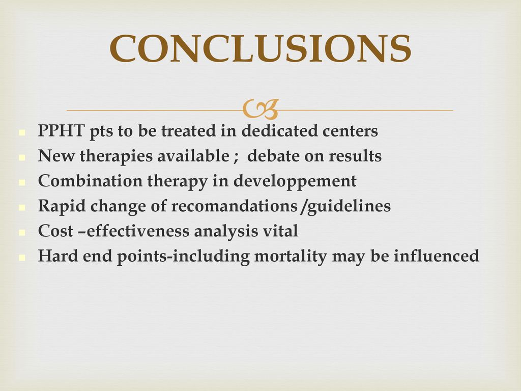 CONCLUSIONS PPHT pts to be treated in dedicated centers