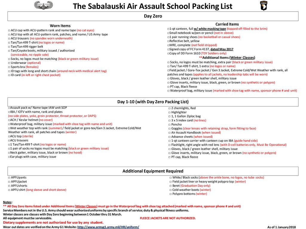 the sabalauski air assault school packing list